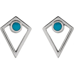 Sterling Silver Turquoise Cabochon Pyramid Earrings-Earrings-Needjewelry.com
