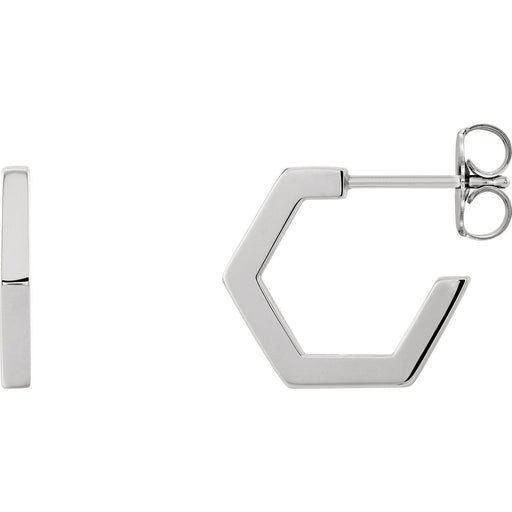 Sterling Silver Geometric Hoop Earrings-Earrings-Needjewelry.com