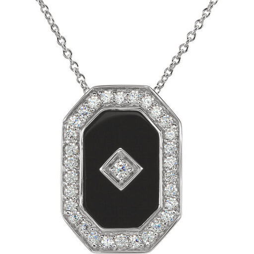 "Sterling Silver Onyx & Cubic Zirconia 18"" Necklace"