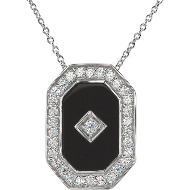 "Sterling Silver Onyx & Cubic Zirconia 18"" Necklace-Necklaces-Needjewelry.com"