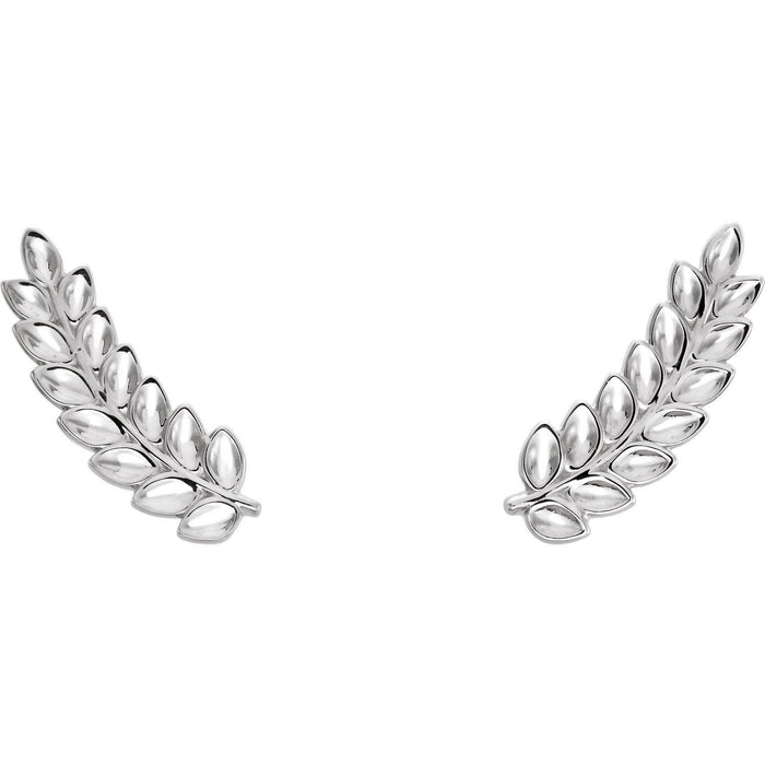 Sterling Silver Petite Leaf Ear Climbers-Earrings-Needjewelry.com