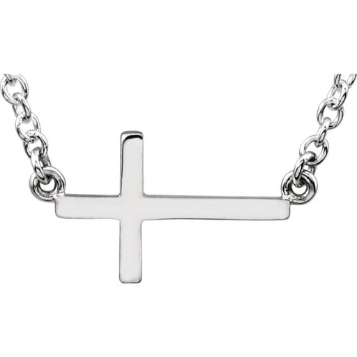 "Sterling Silver Sideways Cross Necklace 16-18"" Necklace"