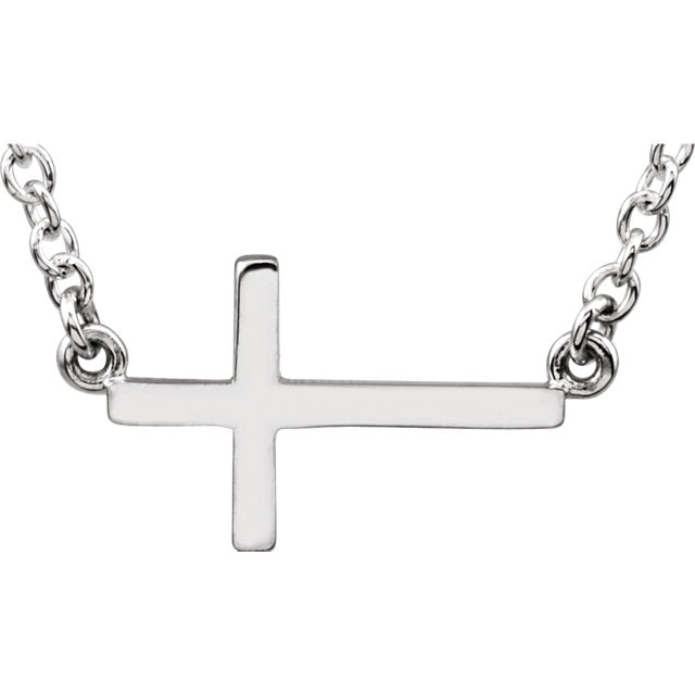 "Sterling Silver Sideways Cross Necklace 16-18"" Necklace-Necklaces-Needjewelry.com"