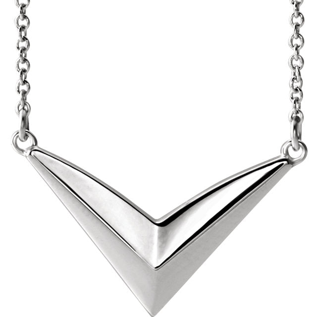 "Sterling Silver ""V"" Necklace-Necklaces-Needjewelry.com"