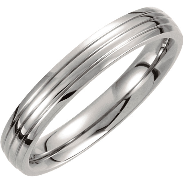 Titanium 4mm Triple Grooved Band - Very Limited Quantities-Rings-Needjewelry.com