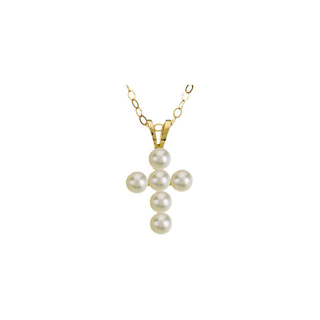"14K Yellow Freshwater Cultured Pearl Cross 15"" Youth Necklace"