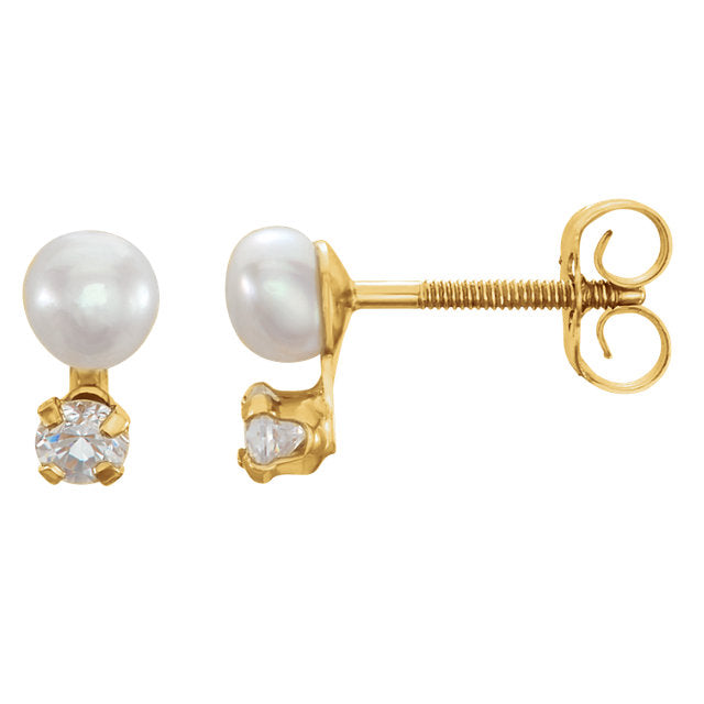 14K Yellow Freshwater Cultured Pearl & Cubic Zirconia Youth Earrings-Earrings-Needjewelry.com