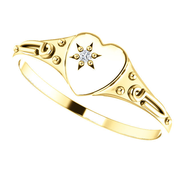 14K Yellow .01 Diamond Heart Youth Ring - Size 3-Rings-Needjewelry.com