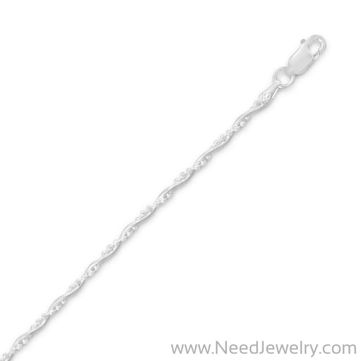 010 Snake Chain with 1mm Faceted Bead Twist Chain (2mm)-Chains-Needjewelry.com
