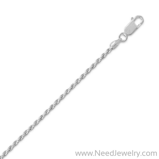 040 Rhodium Plated Rope Chain Necklace (1.8mm)-Chains-Needjewelry.com