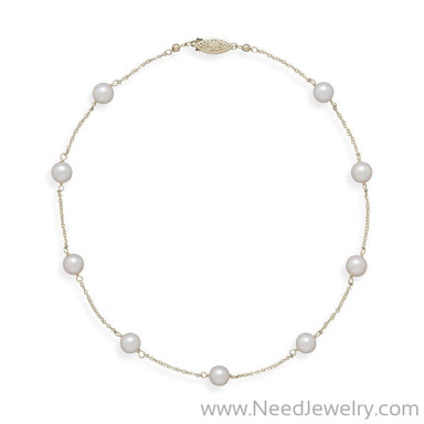 "16"" 14 Karat Yellow Gold Chain with 7mm Grade A Cultured Akoya Pearls-Necklaces-Needjewelry.com"