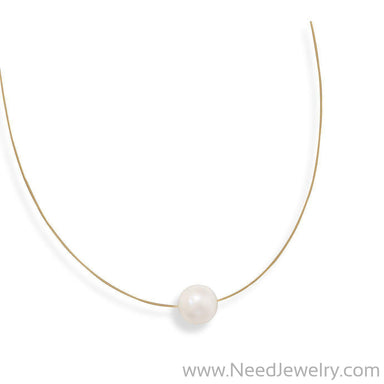 "16"" 24 Karat Gold Plated Necklace with Cultured Freshwater Pearl-Necklaces-Needjewelry.com"