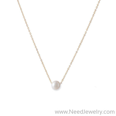 14 Karat Gold Necklace with Cultured Freshwater Floating Pearl-Necklaces-Needjewelry.com