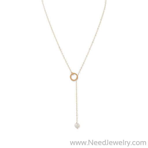 14 Karat Gold Lariat Necklace with Cultured Freshwater Pearl End-Necklaces-Needjewelry.com