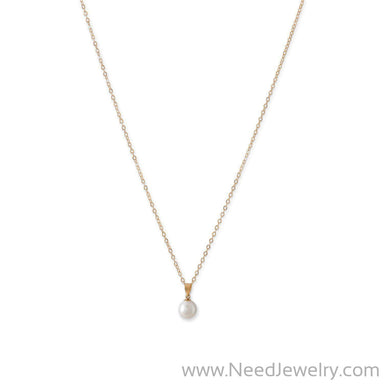 14 Karat Gold Necklace with a Sliding Cultured Freshwater Pearl Pendant-Necklaces-Needjewelry.com