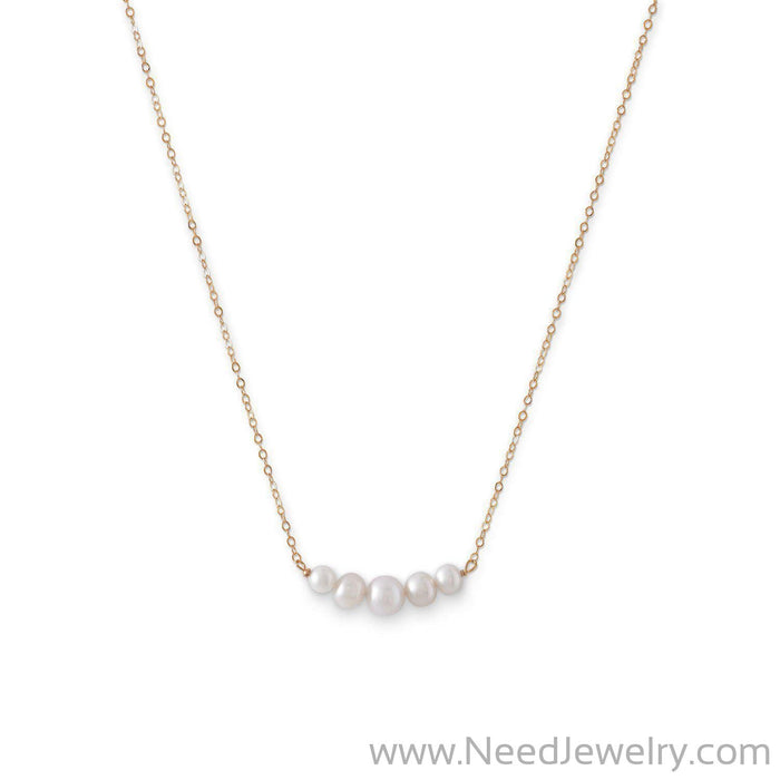 14 Karat Gold Necklace with 5 Cultured Freshwater Pearls-Necklaces-Needjewelry.com