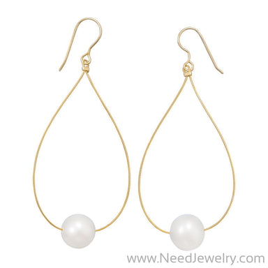 24 Karat Gold Plated Cultured Freshwater Pearl Earrings-Earrings-Needjewelry.com
