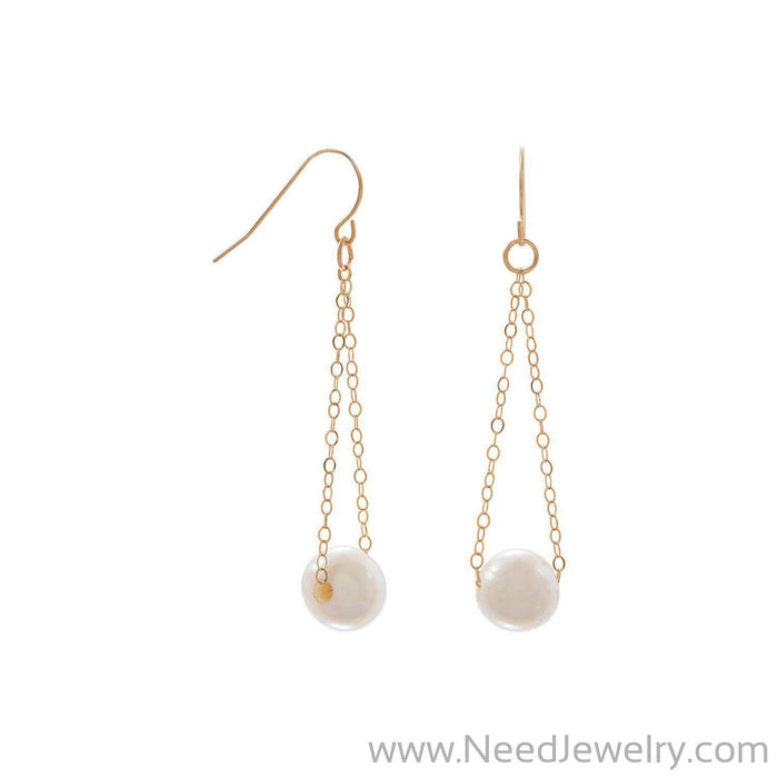 14 Karat Gold French Wire Earrings with Floating Cultured Freshwater Pearl-Earrings-Needjewelry.com