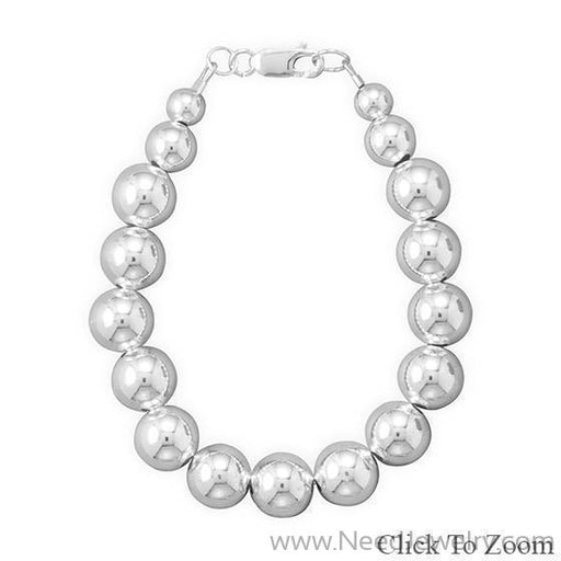 -10mm Sterling Silver Bead Strand-Necklaces-Needjewelry.com