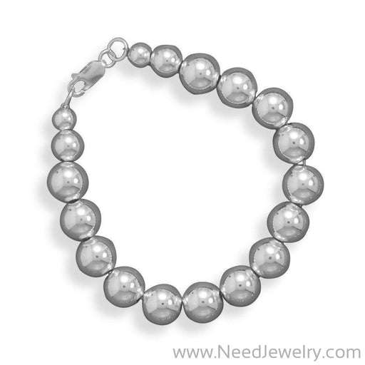 10mm Sterling Silver Bead Strand