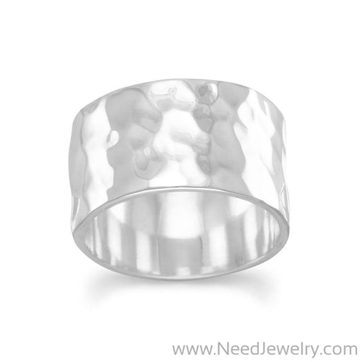 11mm Hammered Band Ring-Rings-Needjewelry.com