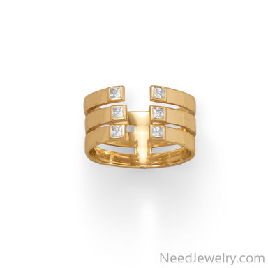 Item # [sku} - 14 Karat Gold Plated 3 Row CZ Ring on NeedJewelry.com