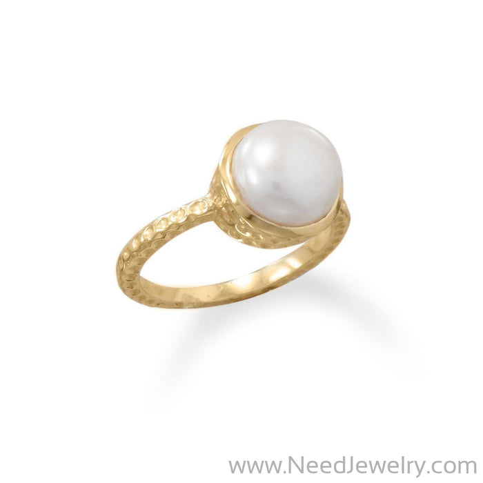 14 Karat Gold Plated Cultured Freshwater Pearl Ring-Rings-Needjewelry.com