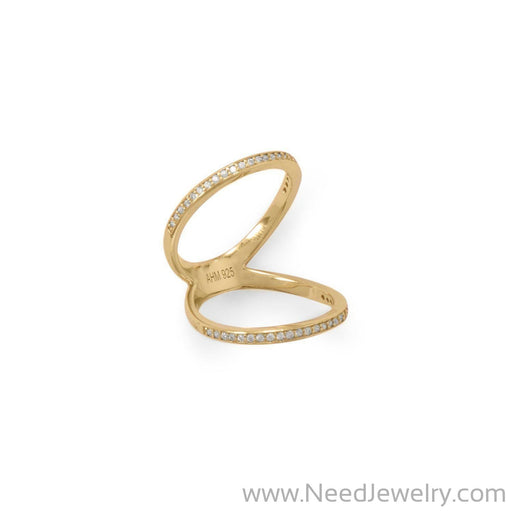 14 Karat Gold Plated CZ Double Band Knuckle Ring-Rings-Needjewelry.com
