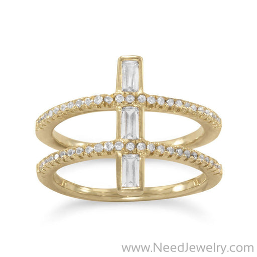 14 Karat Gold Plated CZ Double Cross Ring-Rings-Needjewelry.com