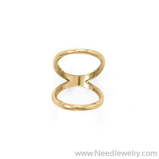 14 Karat Gold Plated Double Band Knuckle Ring-Rings-Needjewelry.com