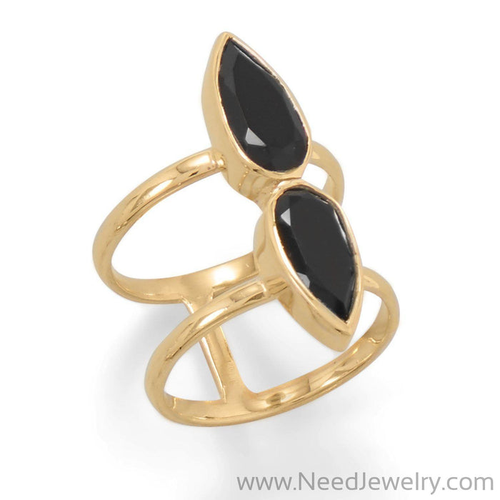 14 Karat Gold Plated Double Pear Onyx Ring-Rings-Needjewelry.com