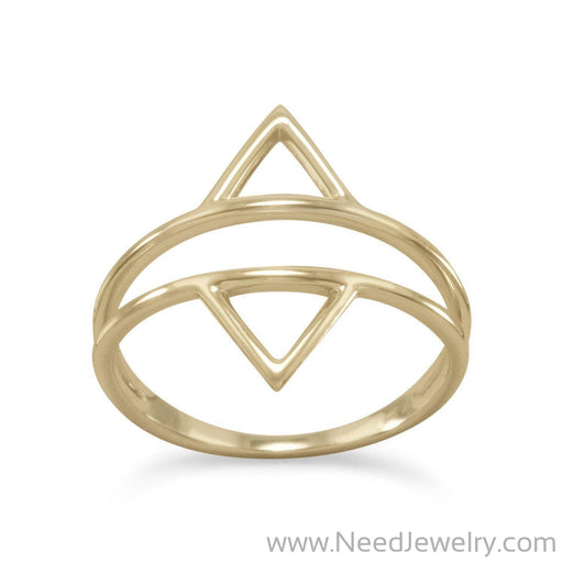 14 Karat Gold Plated Double Triangle Ring-Rings-Needjewelry.com