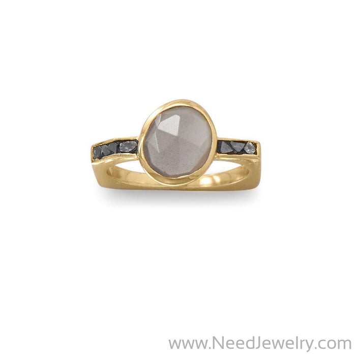 14 Karat Gold Plated Grey Moonstone and Diamond Chips Ring-Rings-Needjewelry.com