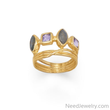 Item # [sku} - 14 Karat Gold Plated Labrodorite and Glass Ring on NeedJewelry.com