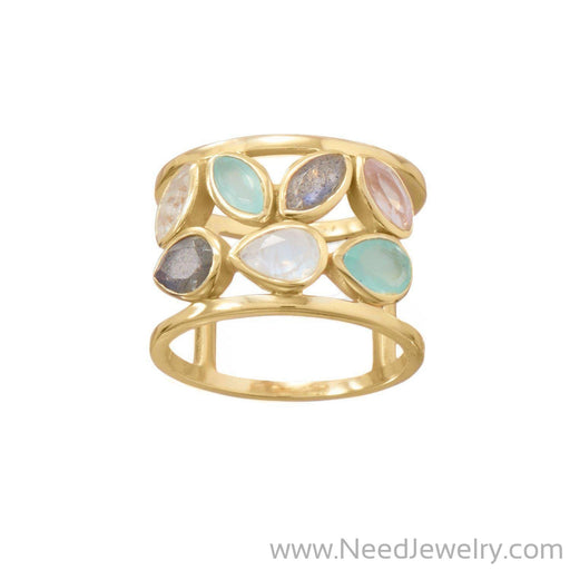 14 Karat Gold Plated Multi Stone Ring-Rings-Needjewelry.com