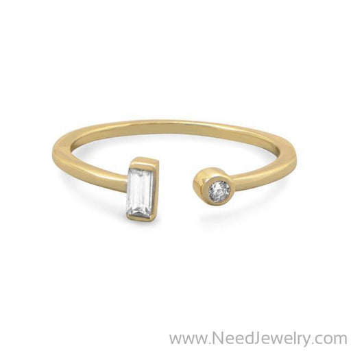 14 Karat Gold Plated Open Design CZ Ring-Rings-Needjewelry.com