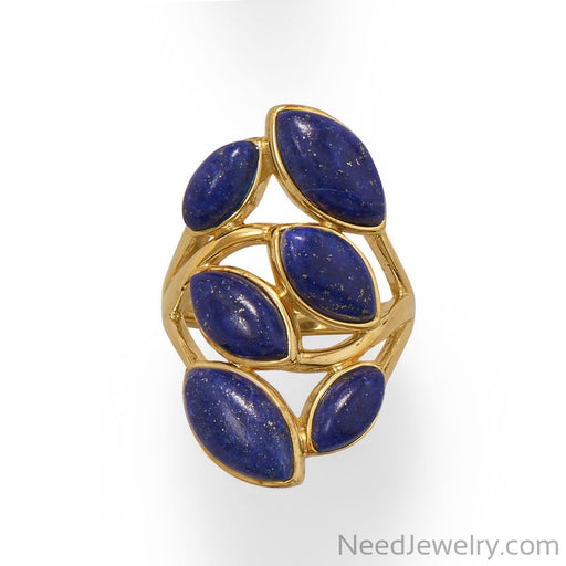 Item # [sku} - 14 Karat Gold Plated Pear Shaped Lapis Ring on NeedJewelry.com