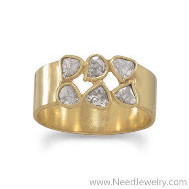 14 Karat Gold Plated Polki Diamond Ring-Rings-Needjewelry.com