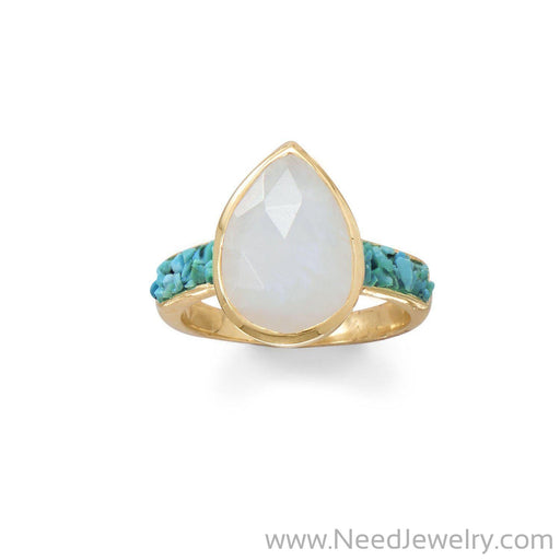 14 Karat Gold Plated Rainbow Moonstone and Crushed Turquoise Ring-Rings-Needjewelry.com