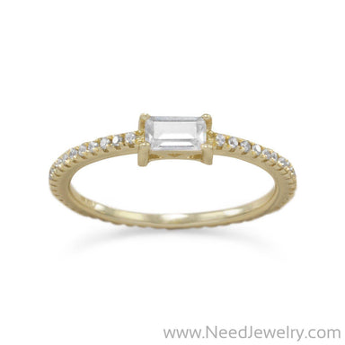 14 Karat Gold Plated Rectangle CZ Ring-Rings-Needjewelry.com