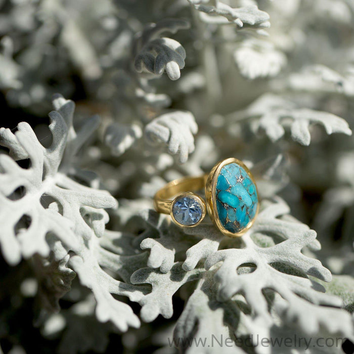 14 Karat Gold Plated Ring with Blue Topaz and Turquoise-Rings-Needjewelry.com