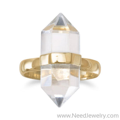 14 Karat Gold Plated Spike Pencil Cut Clear Quartz Ring-Rings-Needjewelry.com