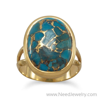 14 Karat Gold Plated Stabilized Turquoise Ring-Rings-Needjewelry.com