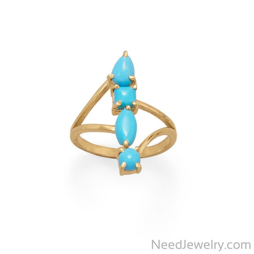 Item # [sku} - 14 Karat Gold Plated Stacked Synthetic Turquoise Ring on NeedJewelry.com