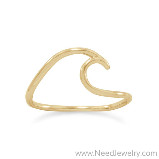 14 Karat Gold Plated Wave Ring-Rings-Needjewelry.com