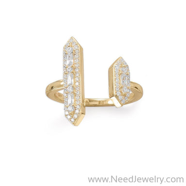 14 Karat Plated CZ Double Bar Ring-Rings-Needjewelry.com