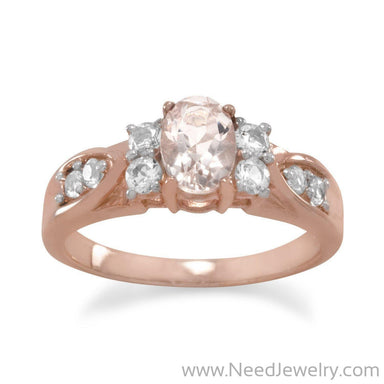 14 Karat Rose Gold Plated Morganite and White Topaz Ring-Rings-Needjewelry.com