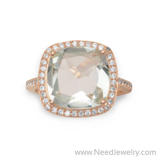 14K Rose Gold Plated Prasiolite Ring-Rings-Needjewelry.com