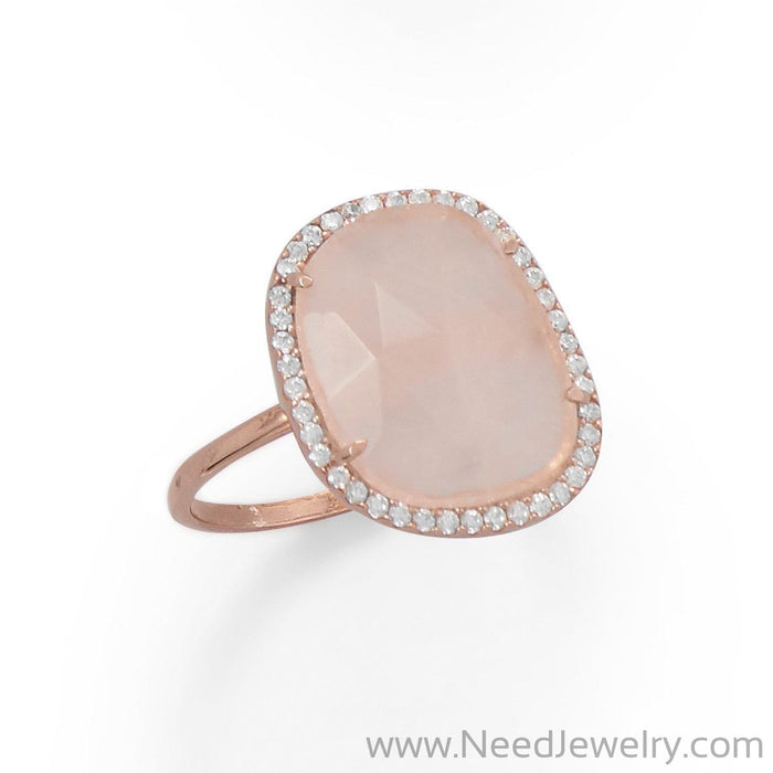 14K Rose Gold Plated Rose Quartz and CZ Halo Ring-Rings-Needjewelry.com