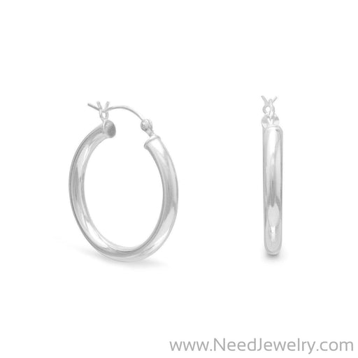 3mm x 25mm Hoop Earrings with Click-Earrings-Needjewelry.com